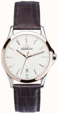 Michel Herbelin Мужская лиловая сталь и розовое золото, кожаные часы 12213/TR12MA