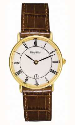 Michel Herbelin Позолоченный классический кожаный ремешок 16845/P08GO