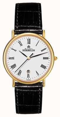 Michel Herbelin Мужские сонаты, золотая тарелка, черные кожаные часы 12443/P01