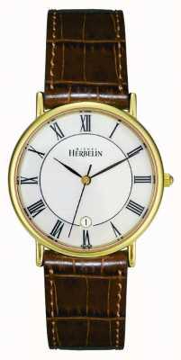 Michel Herbelin Mens pvd позолоченные часы, коричневая кожа 12443/P08GO