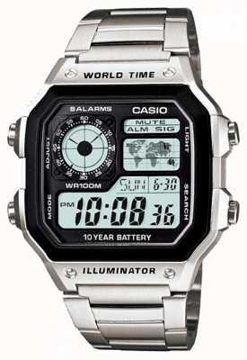 Casio Цифровой многофункциональный таймер мира кварц AE-1200WHD-1AVEF