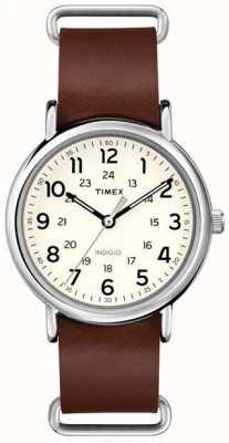 Timex Оригинальный коричневый кожаный ремешок T2P495