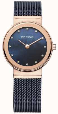Bering Женская синяя сетка pvd розового золота 10126-367