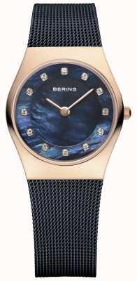 Bering Женское розовое золото, синяя жемчужина, хрусталь 11927-367