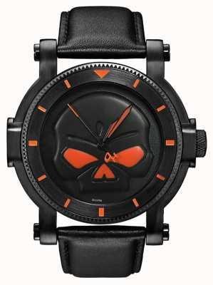 Harley Davidson Мужские черные часы с черепом 78A114