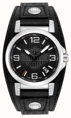 Harley Davidson Мужские черные часы из нержавеющей стали 76B163