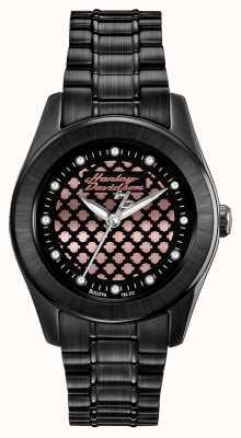 Harley Davidson Черные и розовые женские золотые часы 78L112
