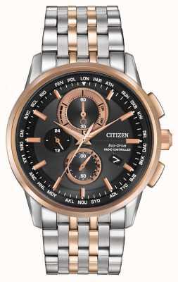 Citizen Мужская эко-драйв мирового хронографа из стали и розового золота AT8116-57E
