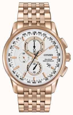 Citizen Mens eco drive world chrono под розовым тоном AT8113-55A