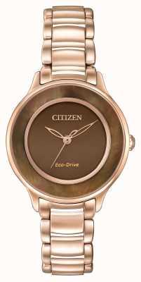 Citizen Eco-drive l круг времени поднял золото EM0382-86X