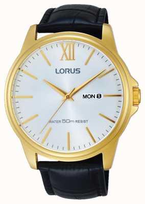 Lorus Мужской черный кожаный ремешок серебристый циферблат RXN16DX9
