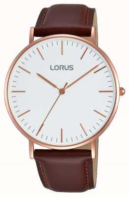 Lorus Мужской коричневый кожаный ремешок белый циферблат RH880BX9