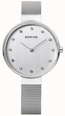 Bering Серебряный циферблат из нержавеющей стали из нержавеющей стали 12034-000