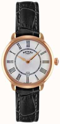 Rotary Женские часы Elise с черным кожаным ремешком LS02919/41