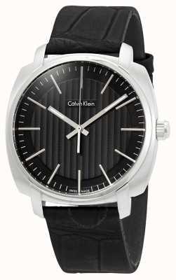 Calvin Klein Мужской черный черная кожаный ремешок черный циферблат K5M311C1