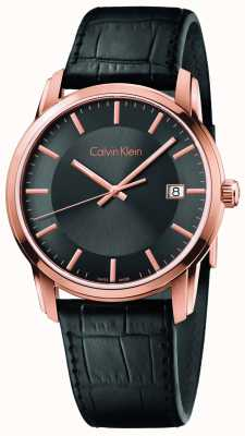 Calvin Klein Мужской черный черный кожаный ремешок черный циферблат K5S316C3