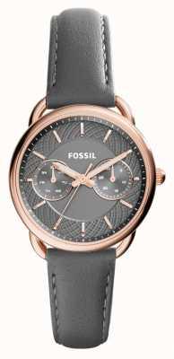 Fossil Женские портные серый кожаный ремешок серый циферблат ES3913