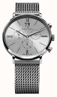 Maurice Lacroix Eliros дата хронограф сетчатый браслет серебристый EL1098-SS002-110-1