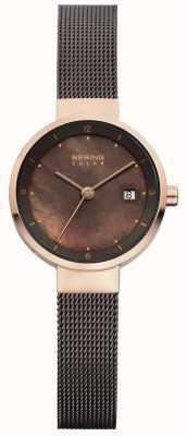 Bering Женская солнечная коричневая сетка коричневый циферблат 14426-265
