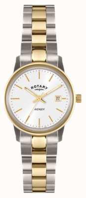 Rotary Мужские мстители два тона браслет белый циферблат LB02736/02