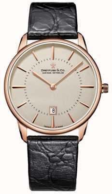 Dreyfuss Мужские черные кожаные часы DGS00139/46
