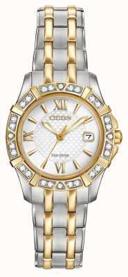Citizen Eco-drive 28 diamonds женские двухцветные EW2364-50A