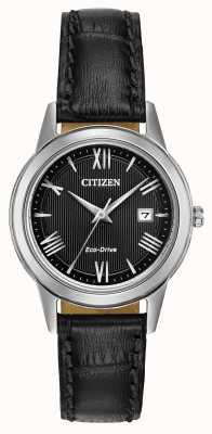 Citizen Женская кожаный ремешок черного цвета FE1081-08E