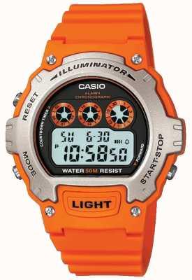 Casio Спортивный будильник унисекс с подсветкой, хронограф W-214H-4AVEF