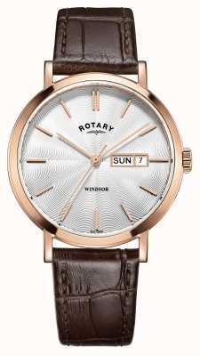 Rotary Мужской коричневый кожаный ремешок розового золота GS05304/02