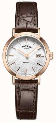 Rotary Женская коричневая кожаный ремешок серебристый циферблат LS05304/02