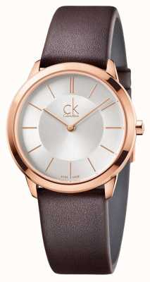Calvin Klein Мужской корпус из розового золота с минимальным серебряным циферблатом K3M226G6