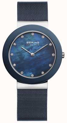 Bering Синий циферблат женского синего ремня 11435-387