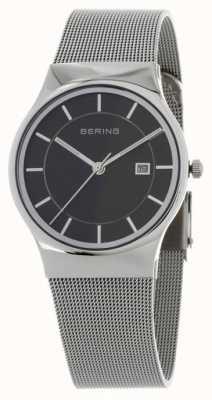 Bering Серебряный ремешок из черного черного циферблата 11938-002