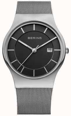 Bering Мужская черный циферблат серебристый ремешок даты окно 11938-002