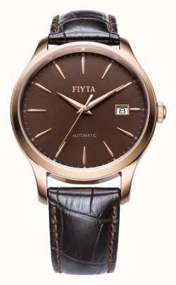 FIYTA Мужской коричневый кожаный ремешок розового золота WGA1010.PSR