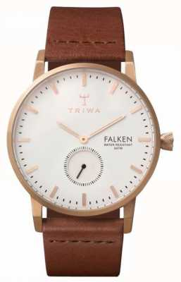 Triwa Унисекс фалькен коричневый кожаный ремешок белый циферблат без дисплея FAST101-CL010214EX-DISPLAY