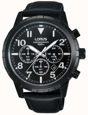 Lorus Черный черный хронограф черного кожаного ремешка RT365FX9