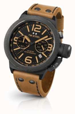 TW Steel Мужская столовая черный циферблат светло-коричневой кожи CS43