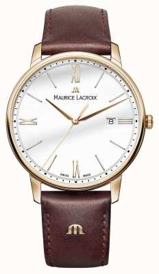 Maurice Lacroix Мужской белый круглый коричневый кожаный ремешок EL1118-PVP01-112-1