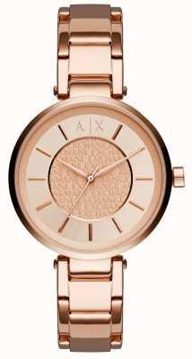 Armani Exchange Женское розовое золото pvd покрыло розовое кольцо AX5317