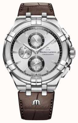 Maurice Lacroix Mens aikon хронограф коричневый кожаный ремешок серебристый циферблат AI1018-SS001-130-1