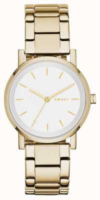 DKNY Женщины с круглым белым циферблатом золотого ремешка NY2343