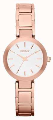 DKNY Женщины белый циферблат розового золота ремешок NY2400