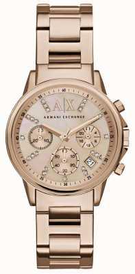 Armani Exchange Женщины розовое золото хронограф циферблат розовый золотой металлический ремешок AX4326