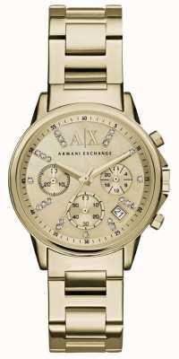 Armani Exchange Женские золотые хронограф циферблат золотой металлический ремешок AX4327