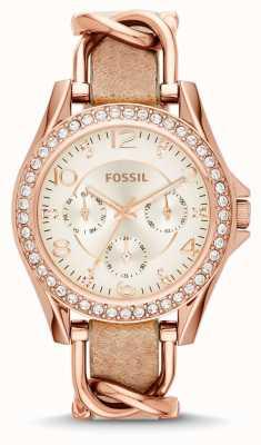 Fossil Белый белый хронограф коричневый кожаный ремешок ES3466
