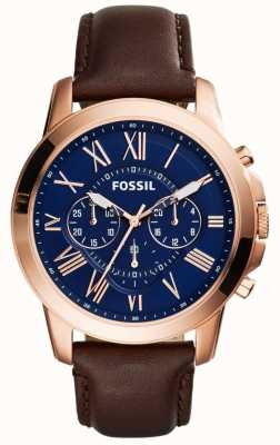 Fossil Мантийский хронограф с хронографом коричневый кожаный ремешок FS5068
