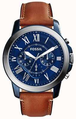 Fossil Мужской синий хронограф циферблат коричневый кожаный ремешок FS5151