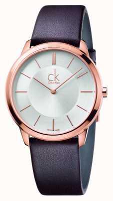 Calvin Klein Мужской минимальный коричневый кожаный ремешок K3M216G6