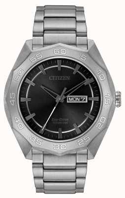 Citizen Мужской черный титановый браслет AW0060-54H